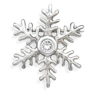 Sterling Silver Pin Pendant Snowflake with CZ Center Rhodium Plated