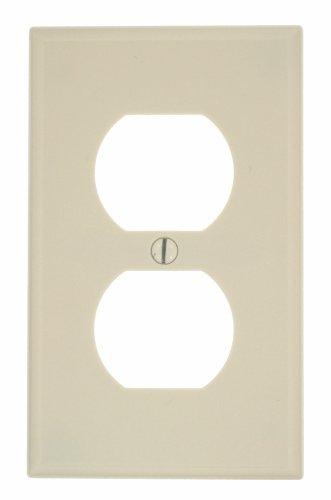 Leviton 78003 1-Gang Duplex Device Receptacle Wallplate, Light Almond