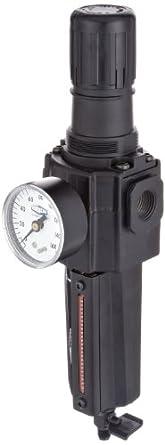 "Dixon B74G-4MG-MB Norgren Series Manual Drain Filter/Regulator with Metal Bowl and Sight Glass, 1/2"" Size, 212 SCFM, 1/2"" Port Size, 5-125 PSI"