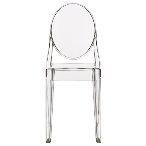 2xhome - Victoria Style Ghost Side Chair - High Quality Dining Room Chair - Victorian Accent Seat - Lounge No Arm Arms Armless Less Chairs Seats Higher Fine Modern Designer Artistic Classic Molded Contemporary Transparent Crystal Clear Poly-carbonate Plastic