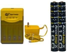 Quest Q2 Smart Charger & 8 Aaa 1100 Mah Nimh Acculoop-X Batteries (Low Discharge) (Quest Q2 compare prices)
