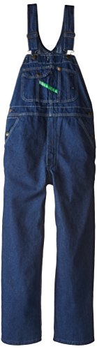 Key Apparel Men's Garment Washed Zip Fly High Back Bib Overall, Indigo Blue, 36x29