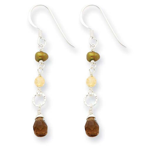 Sterling Silver Brown Pear Shape Smoky Quartz & Jade Earrings - Sheperds Hook