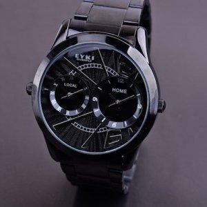 Eyki Overfly Tungsten Steel Two Time Zone Special Design Fashion Quartz Watch