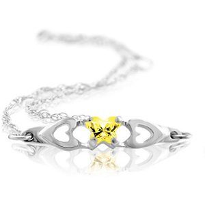 Genuine IceCarats Designer Jewelry Gift 10K White Gold Bfly Cz Birthsto Brc W/Box. November Brc W/Box Bfly Cz Birthsto Brc W/Box In 10K White Gold
