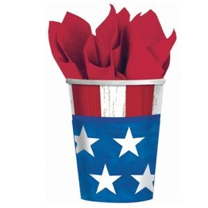 Online Stores, Inc. Patriotic Paper Cups 9oz. Package Of 25