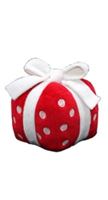Plush Singing Red and White Present Dog Toy