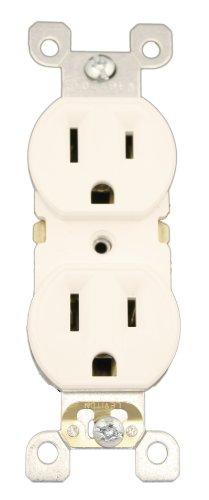 Leviton 5320-Sw 15 Amp, 125 Volt, Duplex Receptacle, Residential Grade, Self-Grounding, White