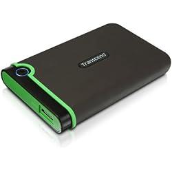 """Transcend StoreJet 25M3 - Disco duro externo de 1 TB (ultra resistente de grado militar, 2.5"""", USB 3.0), verde"""