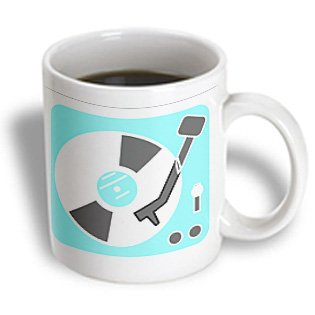 3Drose Mug_38175_2 Turquoise Retro Record Player Ceramic Mug, 15-Ounce