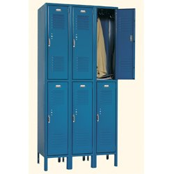 Double Tier Locker -3 Wide - 6 Openings Color Hunter Green Sold Per SET OF 6