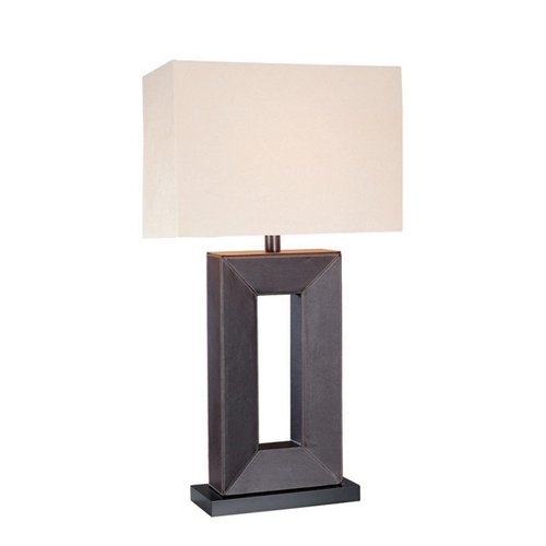 Lite Source LS-20325LTR Marco 28-Inch 100-Watt 3-Way Leather-Wrapped Wood Table Lamp with Off-White Fabric Shade