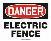 """Danger Electric Fence 10"""" X 14"""" Adhesive Vinyl Sign"""