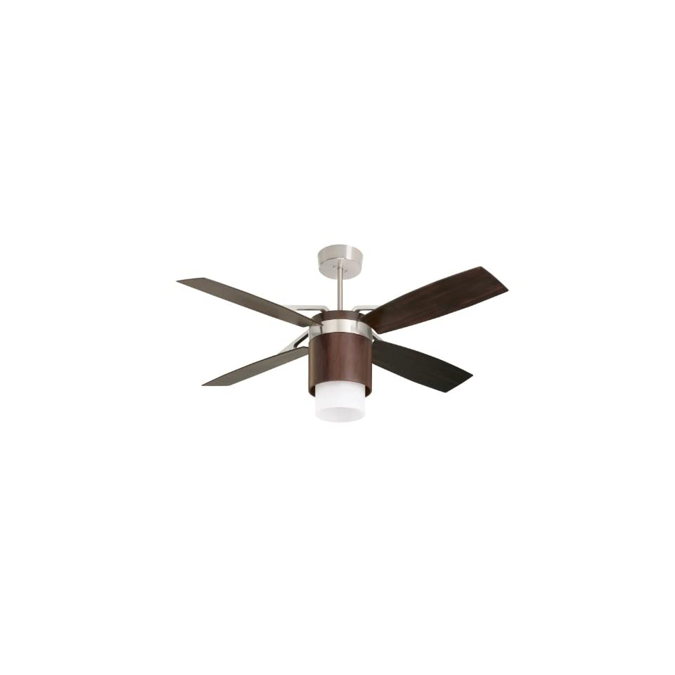 Emerson CF980MBX Tureen Indoor/Outdoor Ceiling Fan, 56 Inch Span, Brushed Steel/Midnight Bordeaux Finish, Midnight Bordeaux Blades and Opal Glass