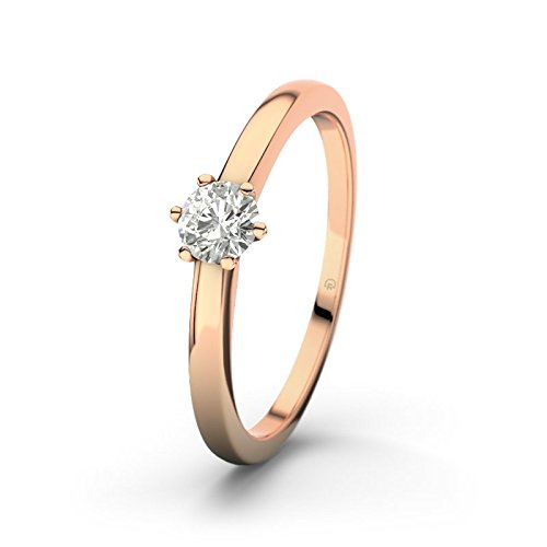 21DIAMONDS Women's Ring Bilbao SI2 0.25 ct Brilliant Cut Diamond Engagement Ring 14ct Rose Gold Engagement Ring