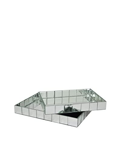 Three Hands Set of 2 Beveled Mirror Trays, Silver