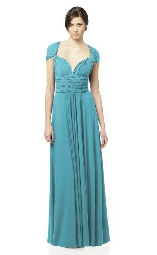 Vivian's Fashions Dress - Twist Wrap, Bridesmaid, Plus Size (Teal)