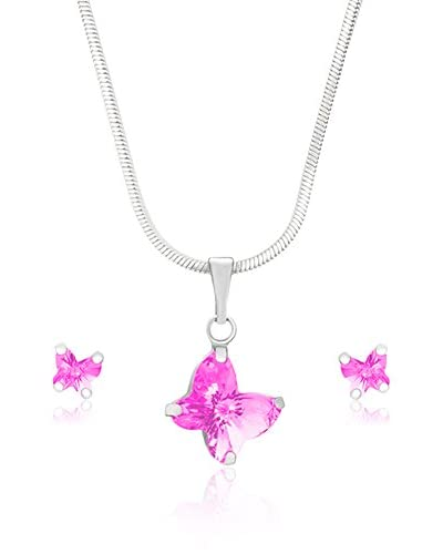 Bohemian Love Story Conjunto de cordón y pendientes Tiny Butterflies Rosa