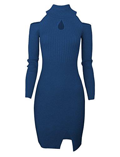 Tom's Ware Women Casual Slim Fit Knit Front Keyhole Sweater Bodycon Dress TWCWD076-DBLUE-US S