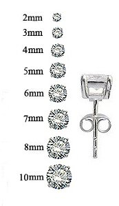 Round solitaire Silver stud earrings by GlitZ JewelZ © - quality CZ crystal