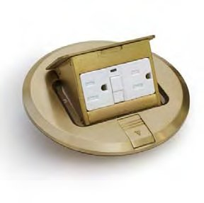 "Lew Electric Pufp-B Floor Box, 6"" Floor Pocket Pop-Up W/Gfi - Brass"