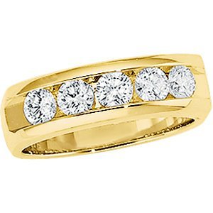 Mens 14K Yellow Gold Five Diamond Band (1 Cttw., Gh Color, S1-S2 Clarity), Size 10.5