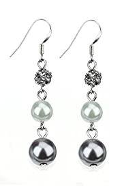 Faux Pearl & Diamant Snowman Triple Drop Earrings