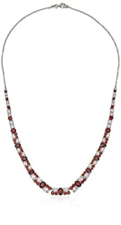Rhodium Plated Sterling Silver Garnet Colored & White Cubic Zirconia Necklace (18 cttw), 18