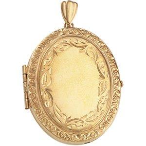 2688 14Ky Gold 35X27Mm Victorian Engraved Rim Locket