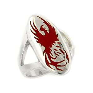 mythical red firebird phoenix rising from the ashes sterling silver ring