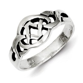 Genuine IceCarats Designer Jewelry Gift Sterling Silver Antiqued Ring Size 8.00