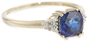 10k White Gold, September Birthstone, Created Blue Sapphire and Diamond-Accent Ring, Size 9