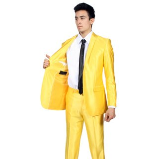 Beautiful Men's Two Button Yellow Color Two Piece Suit (52R) at Amazon