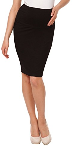 Happy Mama. Womens Maternity Pencil Skirt Overbump Elastic Panel Pregnancy. 066p (Black, US 14, 3XL)