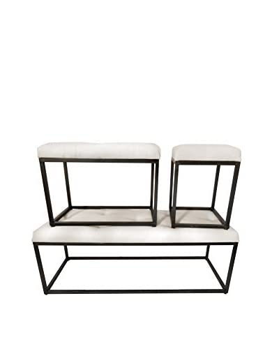Donny Osmond Home Set Of 3 Stools, Ivory/Black