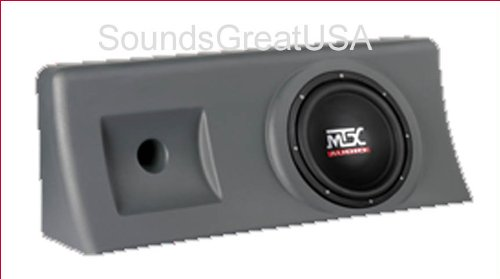 "Amplified & Loaded Mtx Thunderform For 2000-2006 Chevy 1500 & Gmc Sierra Crew Cab Custom Chevrolet Sub Box Holds 10"" Subwoofer Charcoal"
