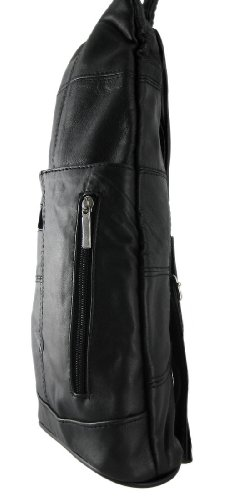 Black Leather Side Zipper Backpack Purse Shoulder Bag