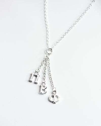 Pi Beta Phi Sorority Silver Dangle Necklace
