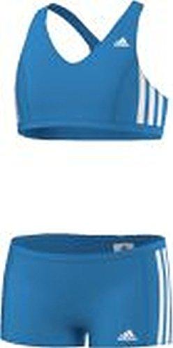 adidas Mädchen Bikini 3-Stripes 2 Teiler, Blau/Weiß, 110, AB6868