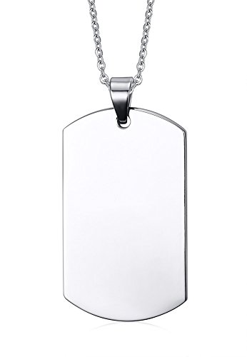 Free Engraving-Stainless Steel Plain Dog Tag Pendant Necklace for Men, 48*28mm (Personalized Dog Tags For Couples compare prices)