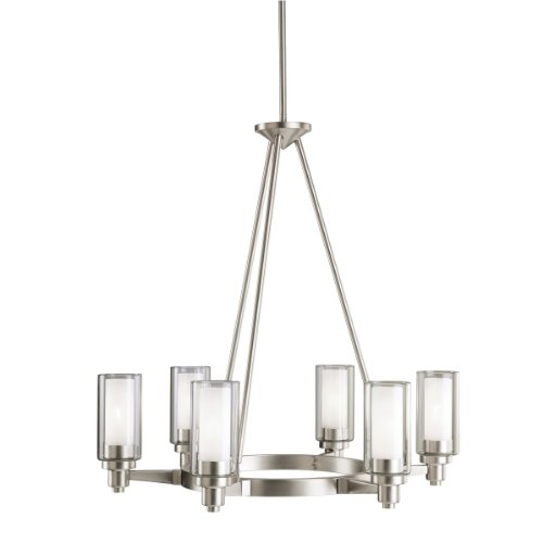 Kichler Lighting 2344NI Circolo 6-Light Chandelier, Brushed Nickel with Clear Glass Cylinders and Satin-Etched Inner Cylinders