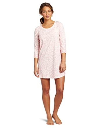 Dearfoams Women's Scoop Neck Printed Sleepshirt, Winter Leopard, Small