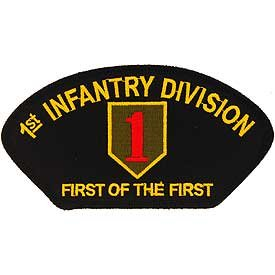 """US Army Military Armed Forces Large Hat or Shirt Iron On Patch - 1st Infantry Division """"First of the First"""" Applique"""