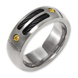 Genuine IceCarats Designer Jewelry Gift Titanium Grooved Black Plated 24K Gold Plated Accent 8Mm Brushed Band Size 11.00