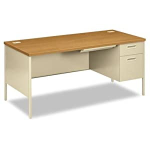 Hon Right Pedestal Desk, 66 by 30 by 29-1/2-Inch, Harvest/Putty