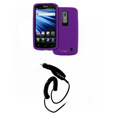 EMPIRE LG Nitro HD Purple Silicone Skin Case Cover + Car Charger (CLA) [EMPIRE Packaging]