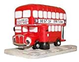 PACK OF 3 - BEST OF BRITISH Routemaster (1 LONDON, ENGLAND) Comic Bus on Road Effect Base Resin Ornament