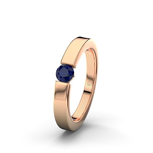 21DIAMONDS Women's Ring Livorno Brilliant Cut Blue Sapphire Color Engagement Ring 14ct Rose Gold Engagement Ring