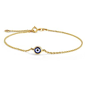 Bling Jewelry Yellow 14k Gold Evil Eye Adjustable Bracelet 6.5 Inch