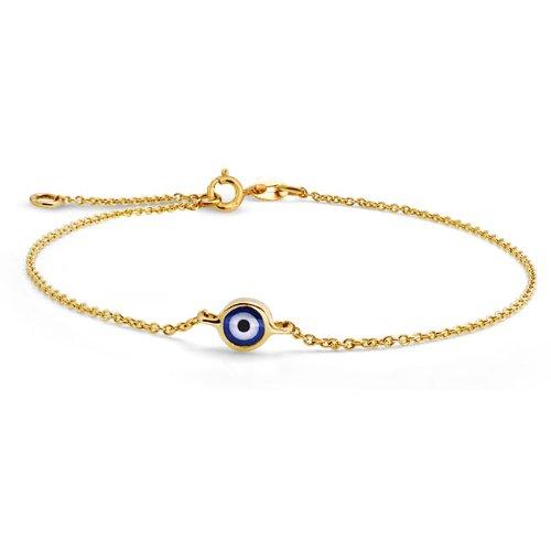 Bling Jewelry Yellow 14k Gold Evil Eye Adjustable Bracelet 6.5 Inch